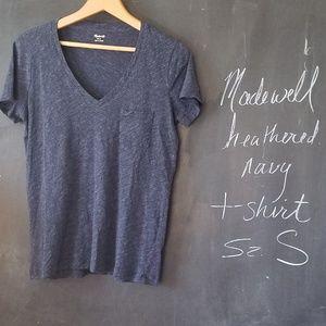 Madewell Heathered Navy Tshirt Sz S